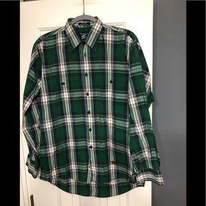 Burberry Designer green button down shirt M